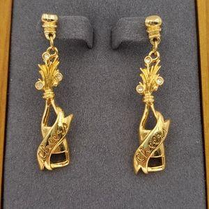 Avon Gold Champagne Bottle Earrings